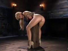 Sexy Cherie gets her wet pussy penetrated, while being bound and suspended in...