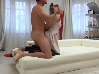 Petite brunette Alena D bends over for a stiff boner