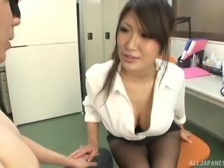 Big tits Asian model giving long dick stunning blowjob