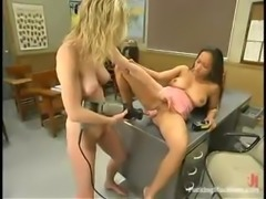 Two kinky office girls are going to share a fucking machine