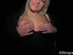Blonde Milf sucking cocks in public