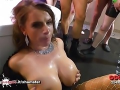 Sexy MILF with Huge Tits lost in a sea of Cocks - GGG