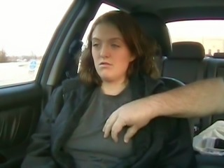 MILFie brunette exposes her natural titties right in the car of my buddy