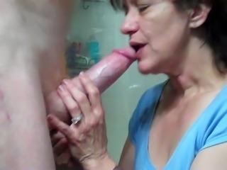 My buddy gets a kinky blowjob from a slutty wrinkled brunette hooker