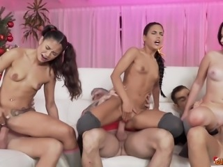 Apolonia and her hot friends love bouncing on fat pricks