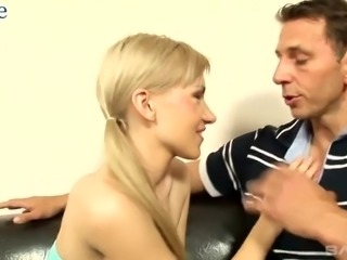 Too horny pigtailed blondie Arina is filled with emotions while riding dick