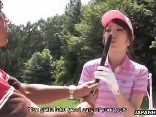Kawaii golfer Karin Mizuno gives her coach a really nice blowjob