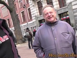 Real hooker fucks old guy