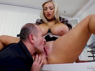 Before this blonde milf will give me a chance to shove my hard penis between...