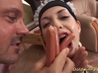 Crazy Hotkinkyjo gets rough mouth fucked and extreme deep anal fisted