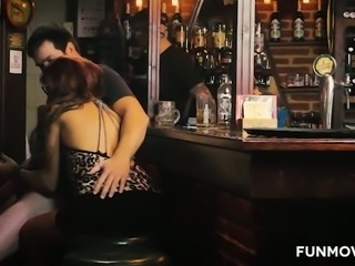 Dirty pub hookers expose their big tits before giving terrific blowjobs
