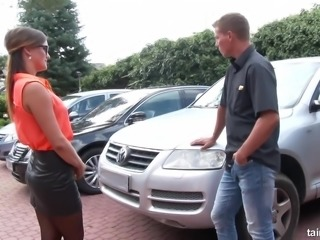 Czech nympho rents not a car but a dude's strong cock for random fuck