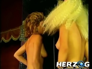 Messy haired old-fashioned vintage slut gets nailed after giving head