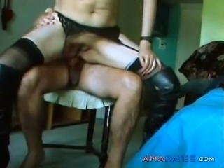 Hot woman in boots sucks cock and anal sex