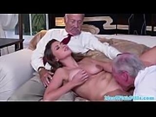 Orally pleasured 18yo screwed by pensioner
