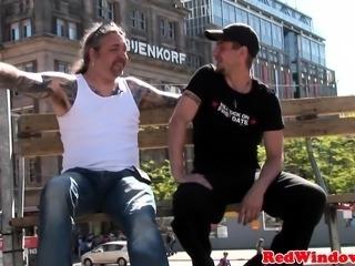 Amsterdam hooker in fishnets gets fucked hard