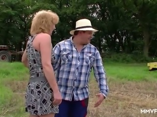 Lewd fat tractor driver gets BJ and licks cunt of mature hooker