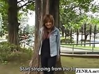 JAV public nudity tan gyaru zero shame striptease Subtitled