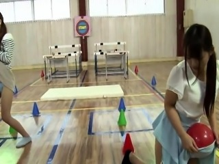 Petite Japanese girls expose themselves and share a dick