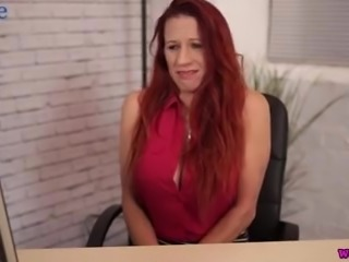 Giant breasted 41 yo office slut Faye Rampton masturbates with a dildo
