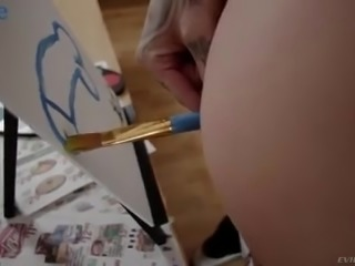 Butthole of dirty like mud blue haired slut Leigh Raven is drilled hard