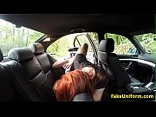 Redhead eurobabe POV doggystyled by officer