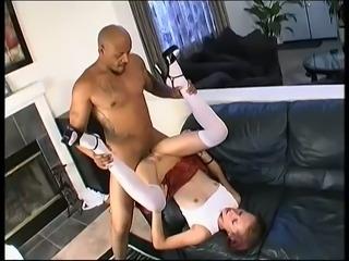 Perverted white slut in short skirt Tracie Trixxx is brutally pile driven