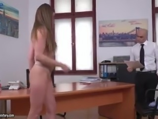 Gamine Ukrainian secretary Sarah Sultry strips for her boss before hot anal