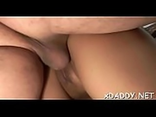 Slutty angel is fucking an elderly chap she is in love with
