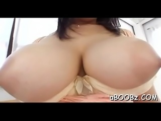 Busty sweetheart sloppy blowjob