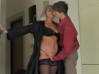 Hot Russian Saggy Tits Mommy Fucks Young Guy Stockings