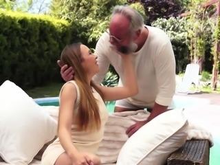 Slut spermed by old perv