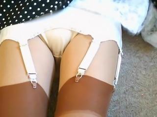 Retro Lace Slip With Tan Nylon Stockings