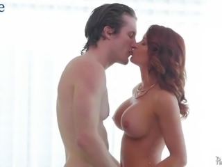 Fabulous redhead Sabrina Cyns gets bald pussy drilled from behind