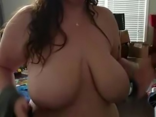 Bbw huge tit wife playing with her boobs