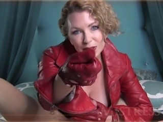 mistress handjob red leather