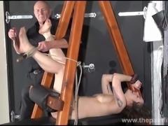 Feet whipping and amateur slave bondage of punished bdsm sub