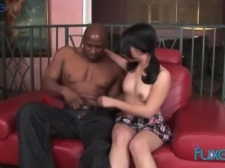 Pallid Asian brunette is brave enough to ride massive black cock on top
