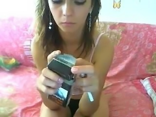 Anna smoking on webcam topless