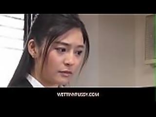 Asian teen gets a rough fuck from boss
