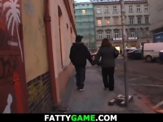 Fat girl picks up him from street for play