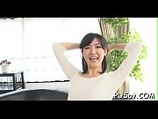 Horny japanese babe devours large cock in throat and nipples squeezed