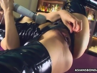 After masturbating on the bar counter Chihiro Asai gets fucked doggy hard