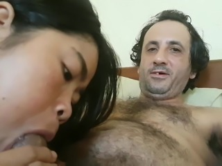 Asian girlfriend blowjob