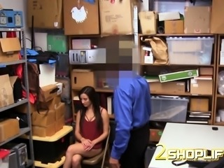 Brunette amber is searched and fucked by naughty officer