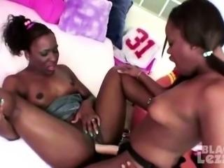 Crazy girl-girl action with busty ebony sluts