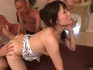 Petite Asian harlot Tsukushi is fucked by several sex-crazy co-workers