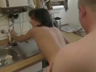 Russian mom kitchen quickie