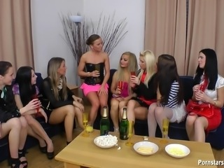 Highly adventurous European lesbians have a massive orgy
