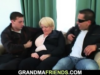 Boozed blonde granny takes is from both ends